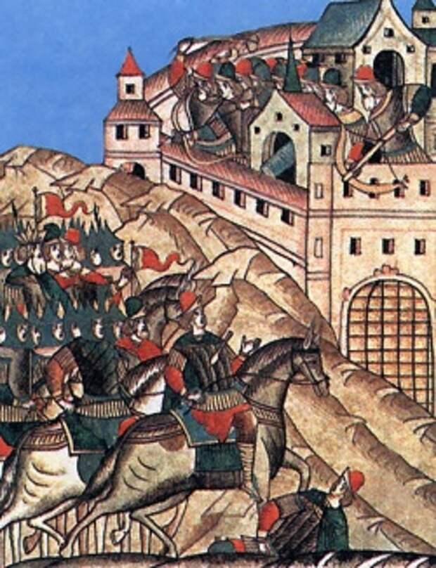 Самострел на средневековой русской миниатюре летописного свода