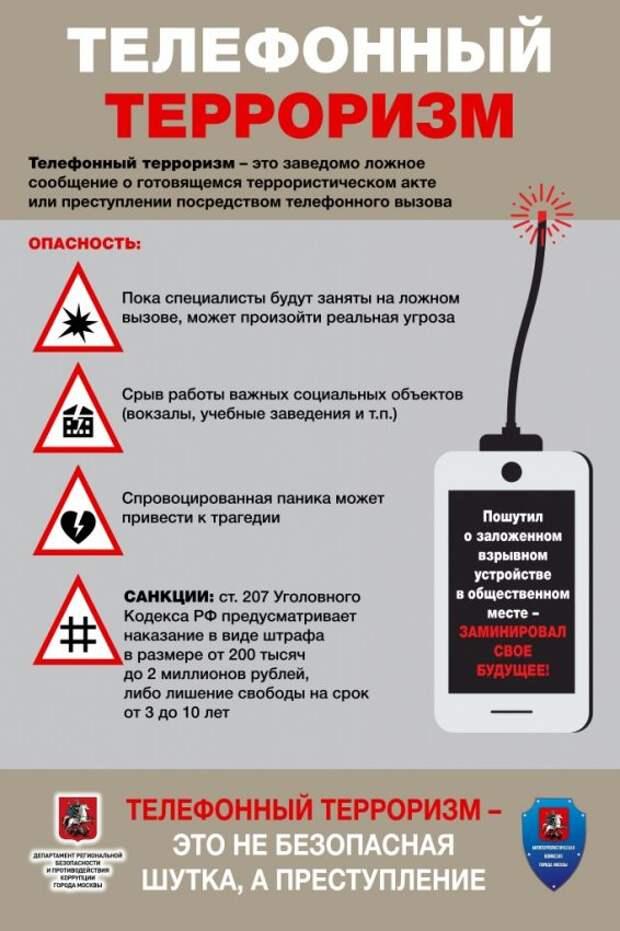 Что влечет за сообщение о ложных угрозах по телефону