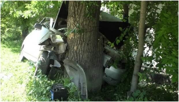 В Луганске спасатели извлекли пострадавших из врезавшегося в дерево автомобиля