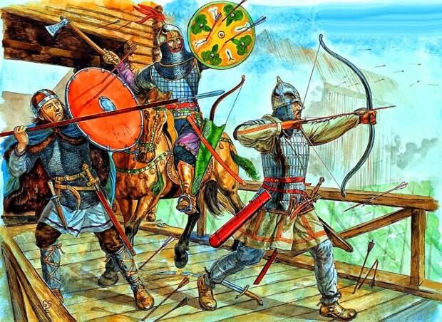 Мари (слева) в бою против Руси с союзниками волжскими булгарами