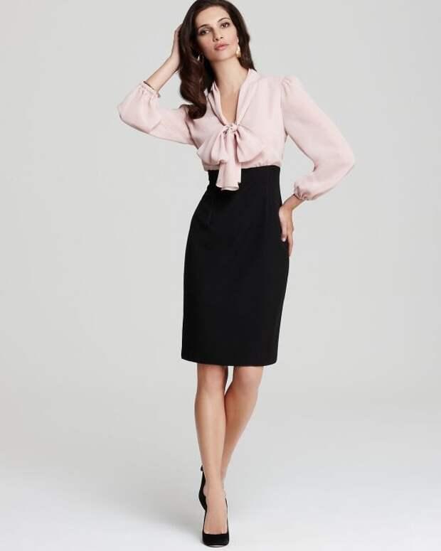 Строгая юбка-карандаш в сочетании с легкой блузой — женственный и привлекательный образ. /Фото: i.pinimg.com