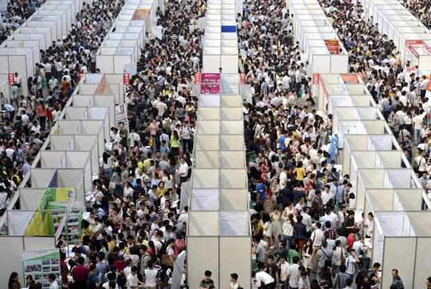 Тысячи людей в поисках работы разглядывают павильоны ярмарки вакансий в Чунцине. китай, люди, население