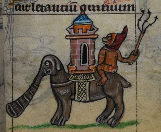 Изображение слона в средневековой миниатюре.