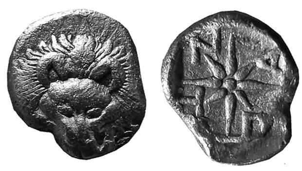 гомиобол-423г.до н.э.-лев-надпись ПАNTI
