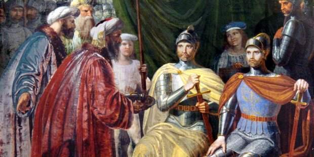 Рожер I и его старший брат Роберт Гвискар принимают от арабов ключи к Палермо