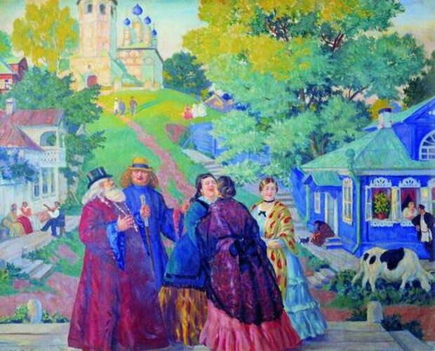 Источник: artandyou.ru. Борис Кустодиев «Встреча (Пасхальный день)» (1917)