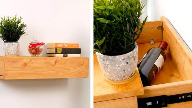 Как сделать тайник внутри полки: классная идея для самодельной мебели