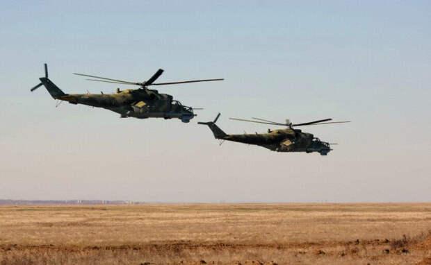 Наши Ми-24 в Сирии на патруле