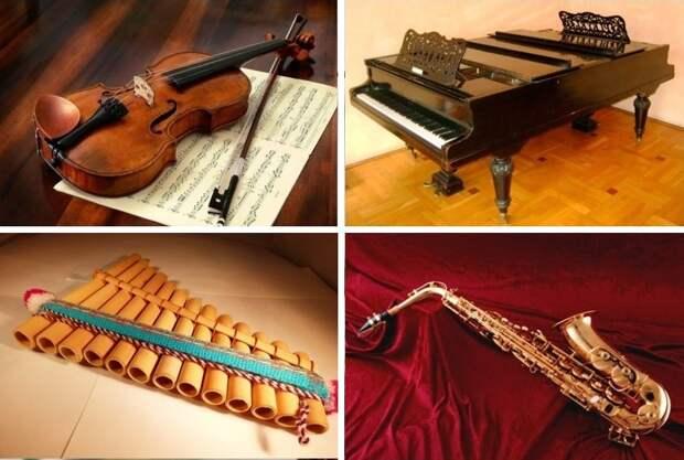 Выберите музыкальный инструмент, звучание которого вам нравится больше всего и узнайте музыку своей души!