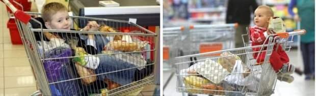 Можно ли возить детей в продуктовых тележках?