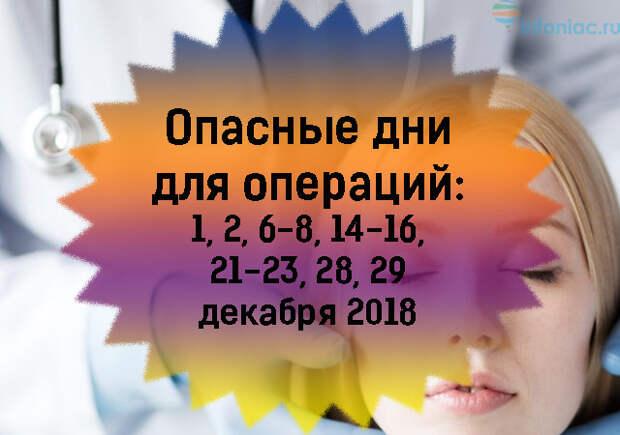 Лунный календарь операций и опасных дней на декабрь 2018 год.