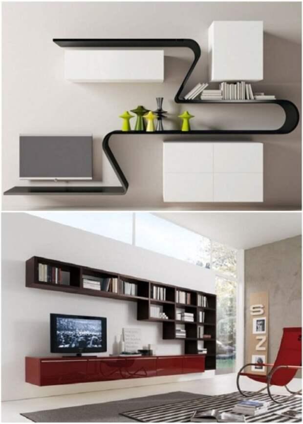 Полки стали основным связующим элементом в интерьере просторной гостиной. | Фото: pinterest.com.