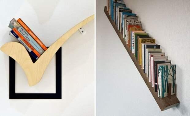 Даже самые простенькие и маленькие полки под уклоном смотрятся очень креативно. | Фото: sami-sdelaem.ru