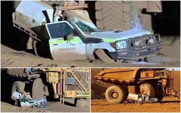 Всмятку: водитель на самосвале раздавил собственный автомобиль