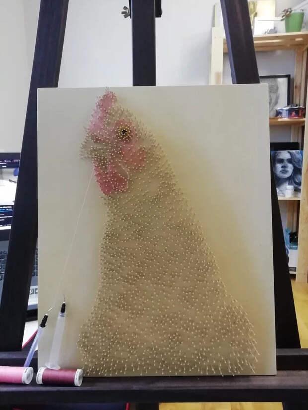 Курочка из ниток и гвоздей String Art, Курица, Рукоделие, Рукоделие с процессом, Длиннопост