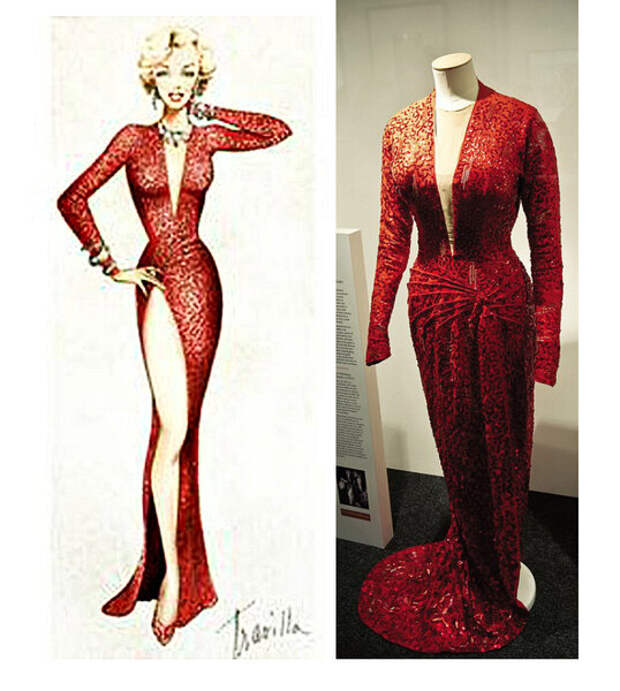 эскиз платья художника по костюмам Уильяма Травиллы и его оригинал