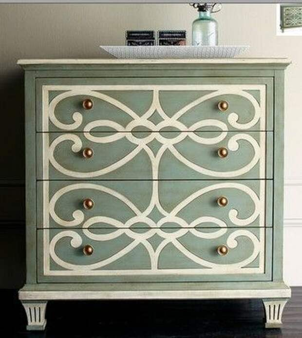Upcycled Dresser-love this scrolled design!