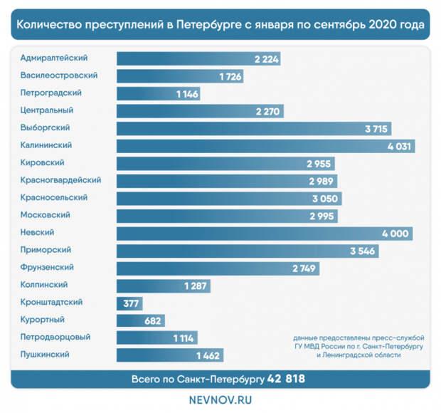Бандитский Петербург: в каких районах было совершено больше всего преступлений за 2020 год