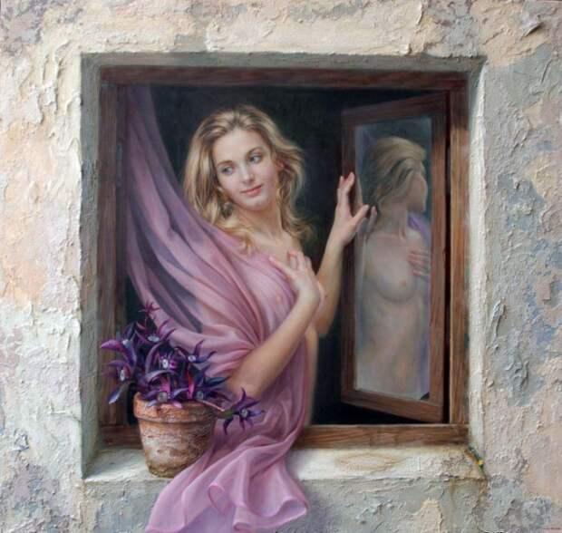Девушка в окне. Автор: испанский художник Алекс Алемани (Alex Alemany).