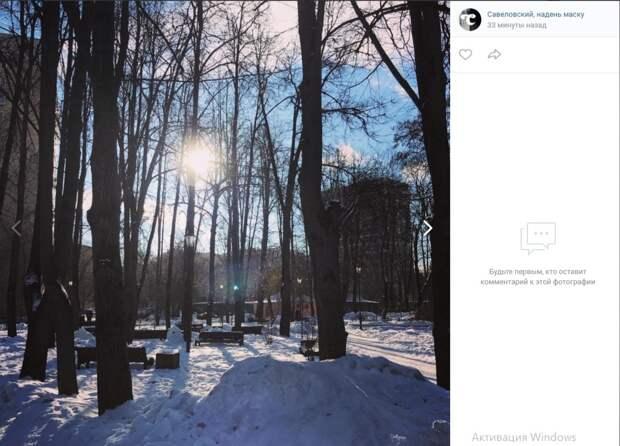 Фото дня: солнечный день в Савеловском парке