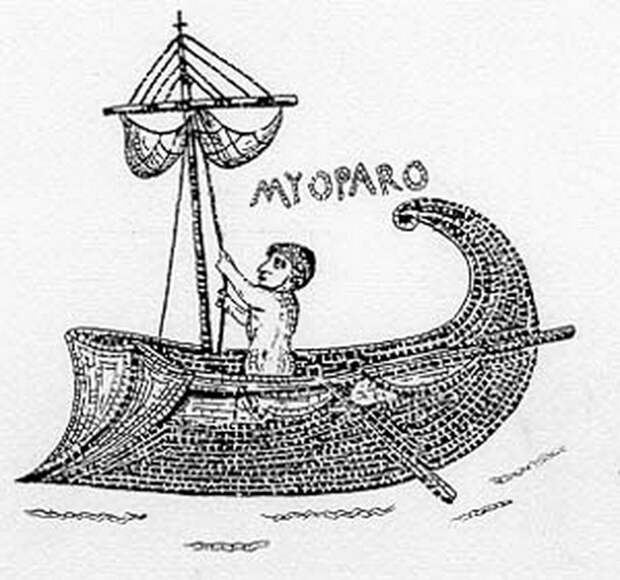 Пираты плавали на лёгких кораблях. Наиболее известными из них были миопароны, или «мышиные ладьи». Изображение миопарона на мозаике из Альтибура, Африка - Рим и киликийские пираты | Warspot.ru