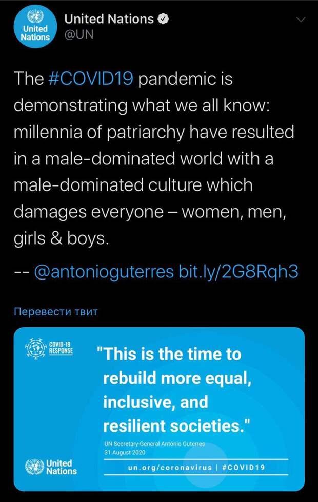 Крупнейшая международная организация сходит с ума: в ООН обвинили мужчин в появлении COVID–19