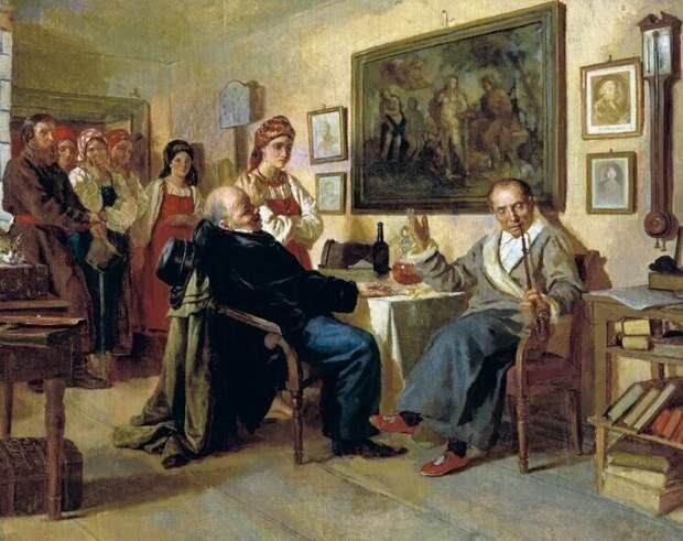 """Николай Неврев. """"Торг. Сцена из крепостного быта"""". (1866)"""