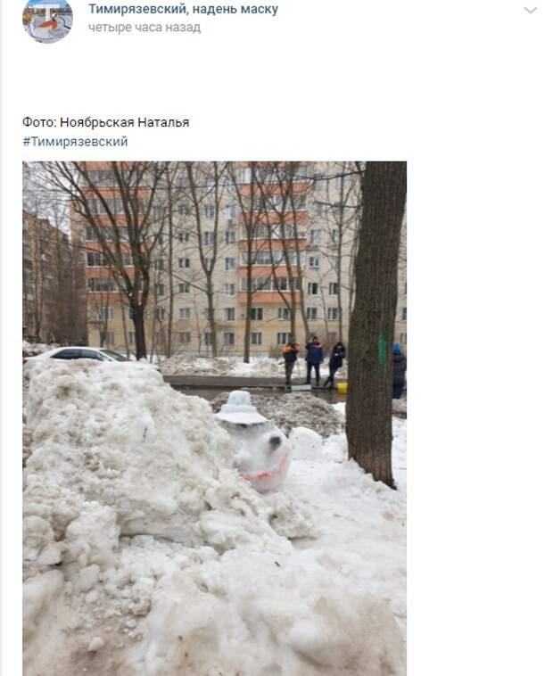 Фото дня: сугроб на Астрадамской завалил снеговика