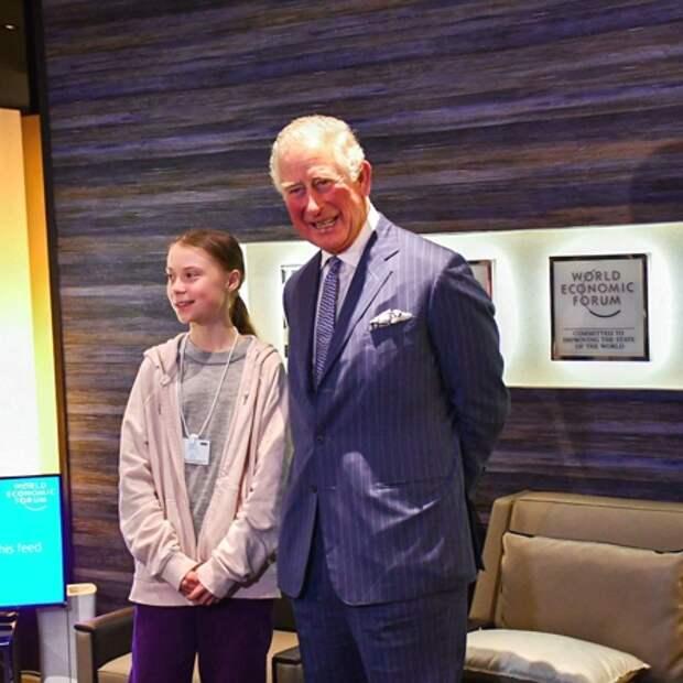Принц Чарльз встретился с 17-летней экоактивисткой Гретой Тунберг в Давосе: о чем они говорили