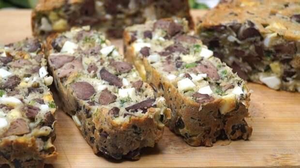 Запеканка с печенью и грибами. \ Фото: youtube.com.
