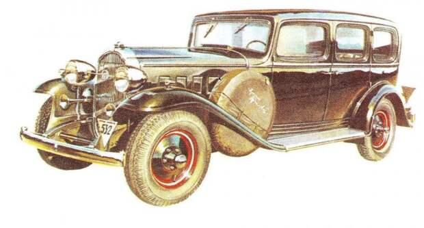Л-1 на рисунке Александра Захарова ЗИС-101, авто, зис, лимузин, олдтаймер, ретро авто, сталин