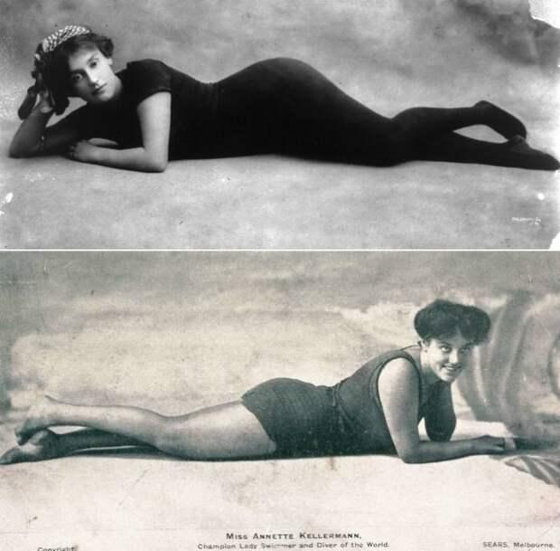 Аннетт Келлерман в купальном костюме для ныряния, разработанном ею самой | Фото: nahshaus.ru и glamourdaze.com