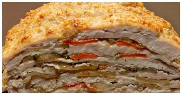 Слоеная запеканка из курицы вкусно, еда, красота, многослойное, необычно, пироги. мясо