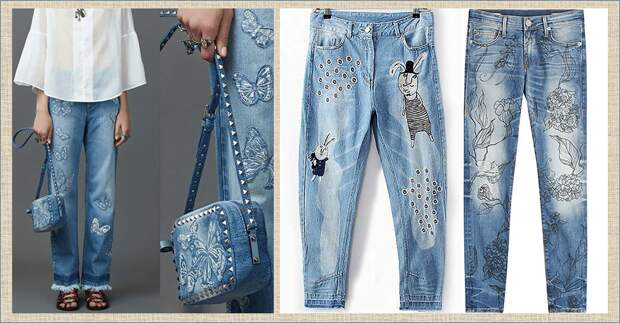 Буйство декора в джинсовых изделиях , или невероятное индиго - 55 коллажей и 160 волшебных примеров