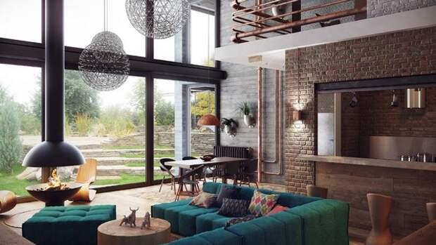 Яркий стиль индастриал в современном доме