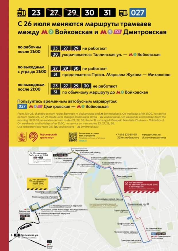 В районе Сокол временно изменились маршруты нескольких трамваев