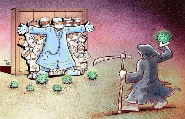 Пандемия и медики, спасающие жизни миллионов, на иллюстрациях иранского художника