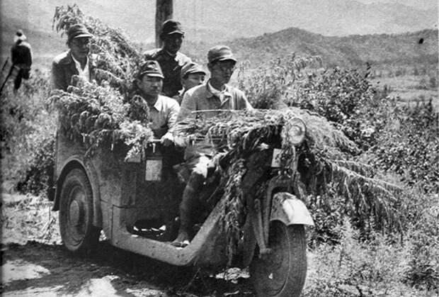 Японские военнослужащие на грузовом мотоцикле Мазда-Го (вариант КС 37). Снимок сделан в период боев у озера Хасан в августе 1938 года