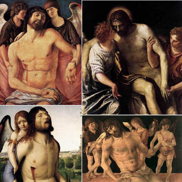 Умерший Христос поддерживаемый ангелами, на картинах художников эпохи Возрождения.