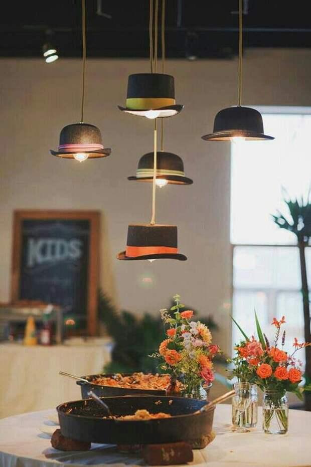 Светильники из шляп (подборка)