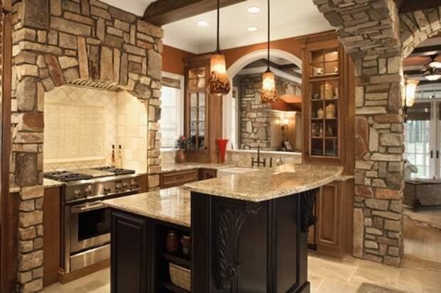 облицовочный камень на кухне