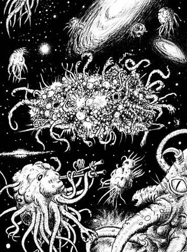 Азатот в окружении своих слуг посреди космоса