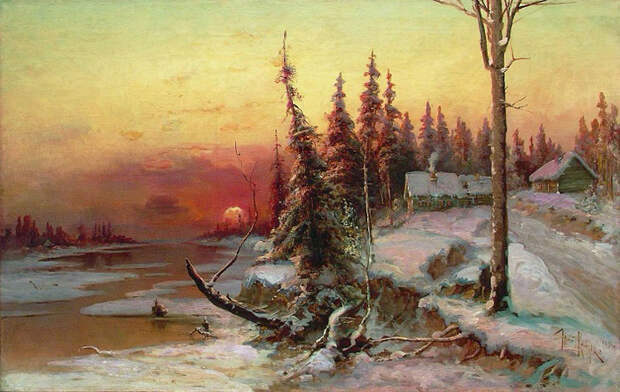 Закат. Деревня. 1896. (700x442, 396Kb)