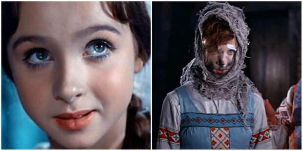 Брови замазали белилами, косу спрятали, сажи на лицо добавили... Ждём выход Марфуши при полном макияже.