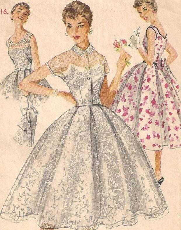 А отсюда начинается мода 50х - неиссякаемая женственность и утонченность! #красота, #мода, #одежда, #тренды