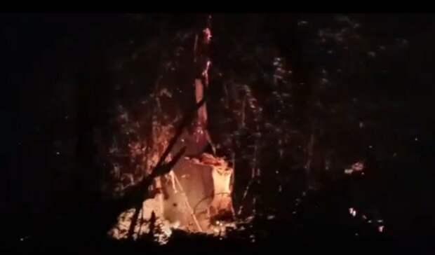 Пожар на дачах в Протопоповской роще: борьбу с огнем ведут 188 человек