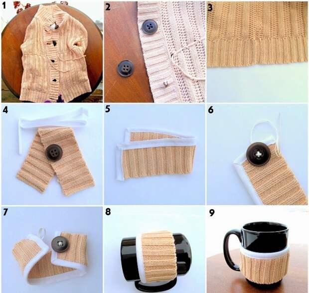 Как сделать декор для чашки из старого свитера: Пошаговая инструкция.