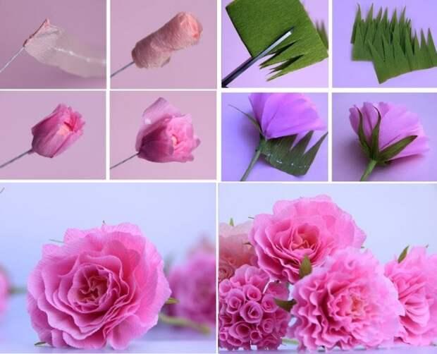 Этапы создания розы из гофрированной бумаги