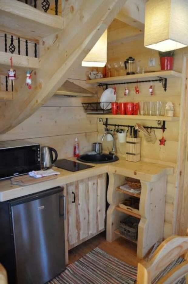 Вполне укомплектованная и современная кухня в сказочном мини-срубе «Stunning Gate Lodge».   Фото: itinyhouses.com.