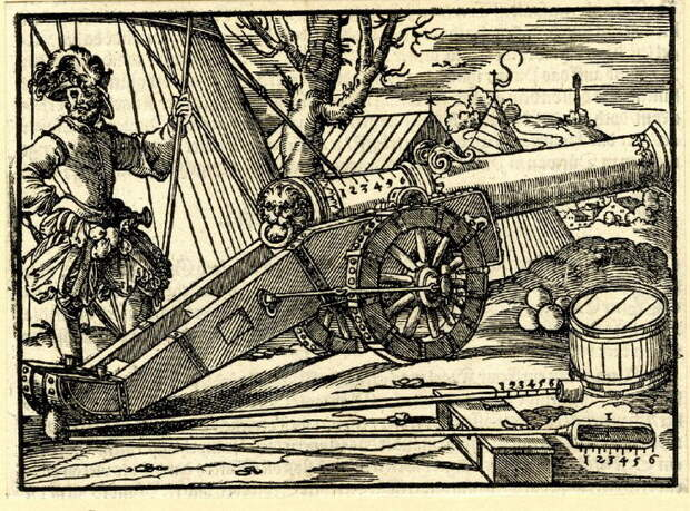 Канонир и его орудие с принадлежностями. Гравюра из «Военной книги» Л. Фронспергера. 1573 год - «Взятье полоцкое литовские земли…»: силы сторон | Warspot.ru